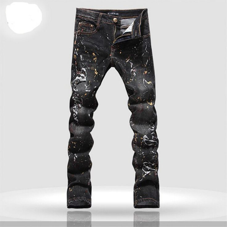 men jeans brand 2016 printed denim joggers slim mens cotton jeans high quality full length trousers pattern Size 28-36
