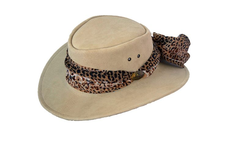 """1020MAD Outback Jillaroo Sand. Pigskin Leather Hat inspired by Outback Matty for Jacaru. Decorative Scarf (Various Combinations) and Brass """"OUTBACK MATTY"""" Badge."""