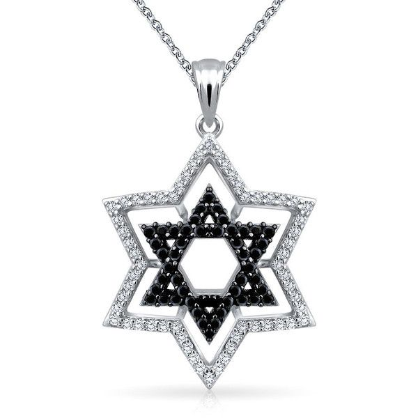 Black CZ Star of David Pendant Necklace 925 Sterling Silver 18in ($27) ❤ liked on Polyvore featuring jewelry, black, star of david jewelry, sterling silver cz jewelry, cubic zirconia jewelry, polish jewelry and cz jewellery
