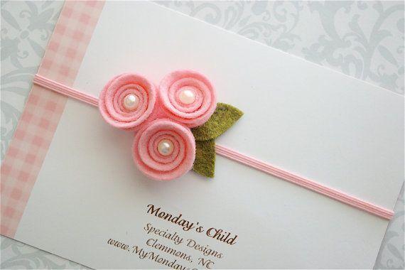 My Mondays Child $6.99 + 2.50 (.50 additional items) Felt Flower Headband in Pink Pearl Posy - Newborn Baby Headbands to Adult