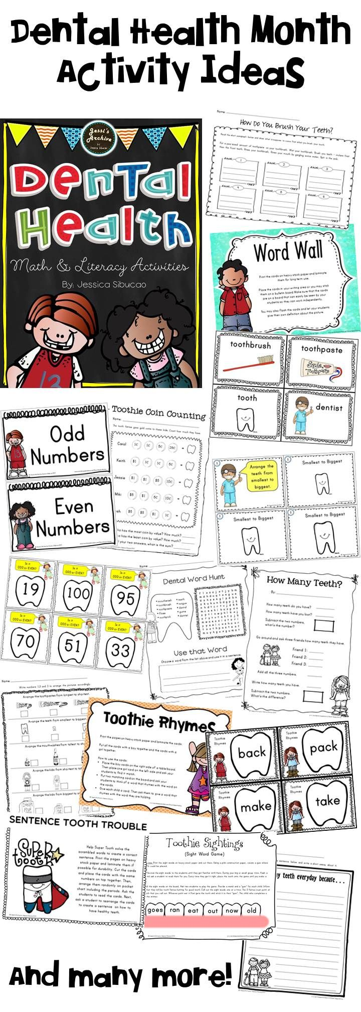 Dental Health - This pack will help you and your students learn about dental health through worksheets, activities, cards, etc. Aligned with Common Core Standards, this includes literacy and math activities for your small and big groups. Through this packet, your children will get a chance to sort, draw, write, play and more!