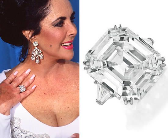 Elizabeth Taylor's 33 carat Asscher cut Krupp diamond engagement ring from Richard Burton.