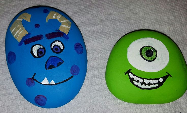 Monsters inc. Painted rocks ...sully and mike...