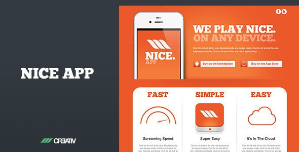 Nice app - Responsive Landing Page  #themeforest