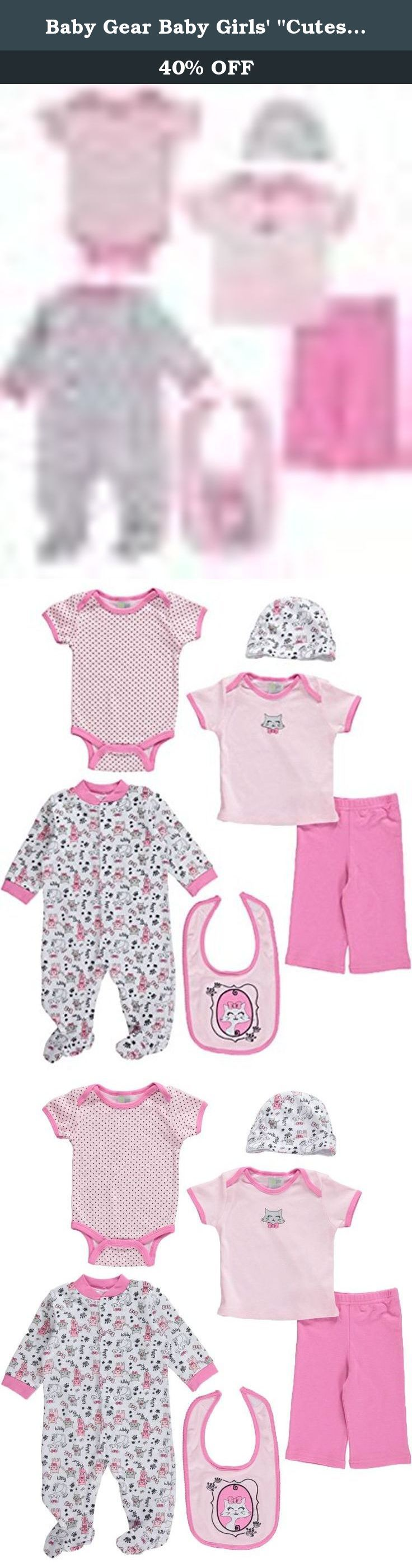 "Baby Gear Baby Girls' ""Cutest Kitty"" 6-Piece Layette Set - pink, 0 - 3 months. Stock up on soft and comfy 100% cotton clothing with this essential 6-pack from Baby Gear. Includes: Bodysuit (100% Cotton) Coverall (100% Cotton) Pants (100% Cotton) T-Shirt (100% Cotton) Bib (100% Cotton) Cap (100% Cotton) Machine Wash Cold Imported."