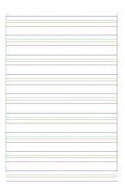Des pages avec des lignes de cahiers de 2 ou de 4 couleurs pour aider les élèves dyspraxiques à se repérer.