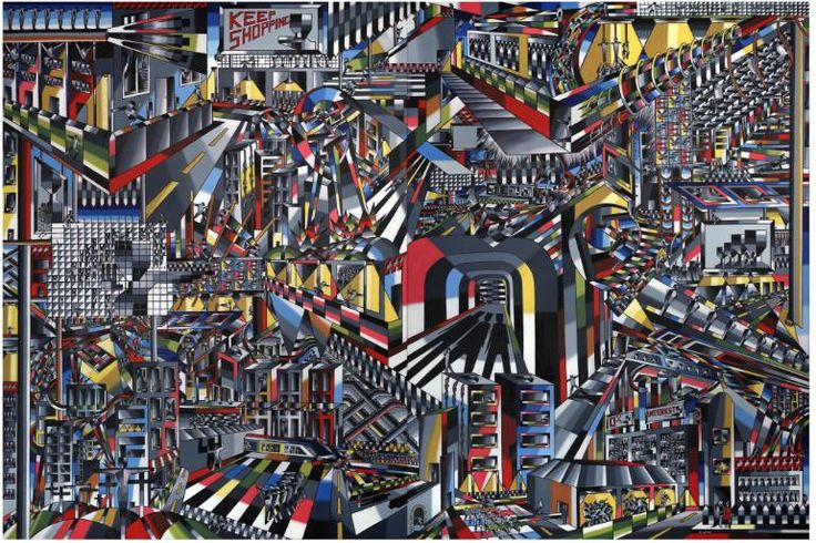 """Saatchi Art Artist Thomas W Dowdeswell; Painting, """"The Consequences of Conspicuous Consumption"""" #art or Wyndham Lewis meets Jim'll Paint it"""