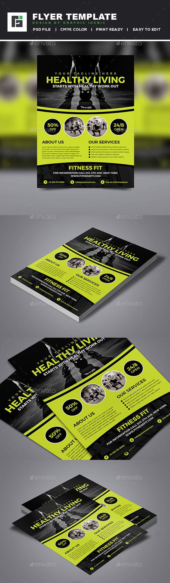 Fitness Flyer Template PSD. Download here: http://graphicriver.net/item/fitness-flyer/16021763?ref=ksioks