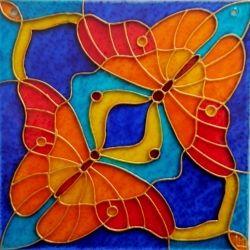 """Ručně malovaná vitráž - """"Motýlí snění"""" (12x12 cm) Hand Painted Stained"""