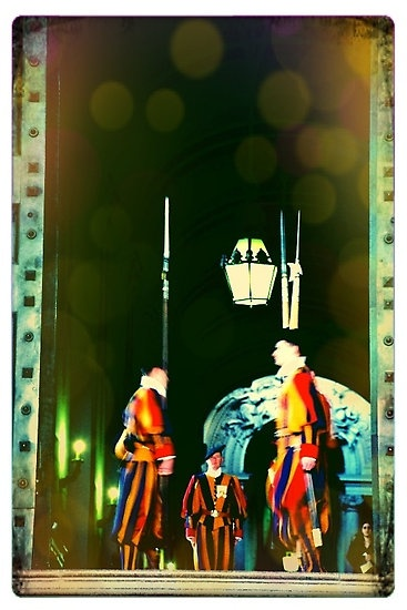 My photo of the Swiss Guard at the Vatican — put through Instagram.  See the rest of my photography portfolio on RedBubble: http://www.redbubble.com/people/felinemind