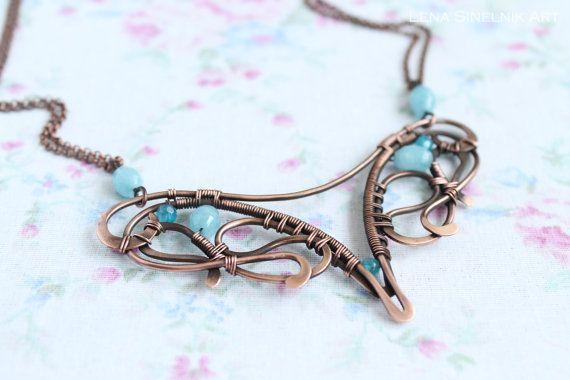 Wire wrap necklace Wire wrapped jewelry by LenaSinelnikArt on Etsy