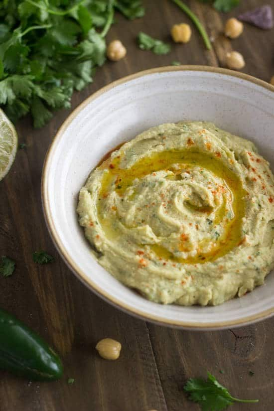 Jalapeno Lime Hummus {Gluten free, Low fat + Super Simple} - Food Faith Fitness