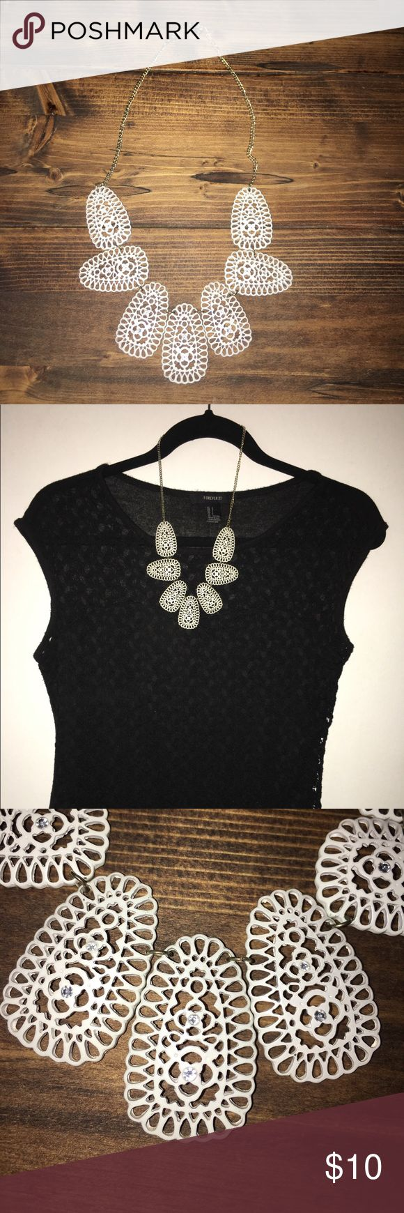 White Statement Necklace One of my favorites! I only wore this once with a black dress and 😍. Well taken care of. Icing Jewelry Necklaces
