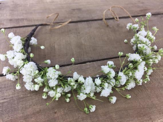 Fresh Baby S Breath Crown White Flower Crown Bridal Etsy White Flower Crown Flower Crown Flower Crown Bridesmaid