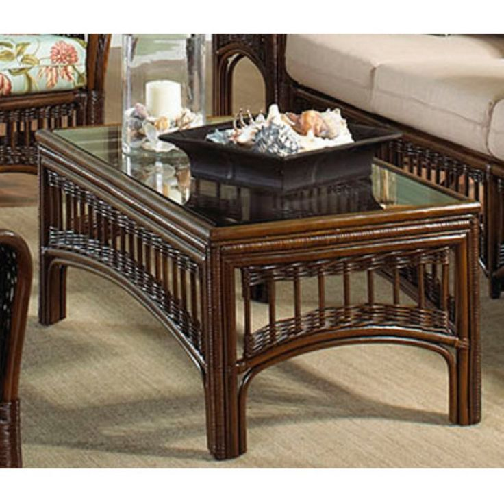 Furniture, : Fair Furniture For Living Room Decoration Using Rectangular  Rattan Coffee Table Along With · Glass Top Coffee TableGlass TablesWicker  ...