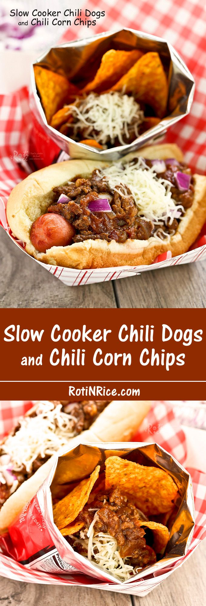 Slow Cooker Chili Dogs and Chili Corn Chips - cook once and enjoy it both ways. Perfect for a tailgate party or potluck. | RotiNRice.com
