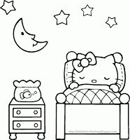hello kitty coloring page which is perfect for sleepover party activity
