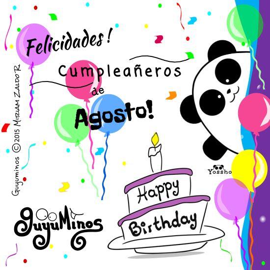 Un gran abrazo para nuestros amigos que cumplen en Agosto!!! Compártela en tu muro si conoces a alguien que sea de Agosto ;) #tu #felicidades #cumpleaños #cumpleañeros #happy #birthday #agosto #August #guyuminos #cute #panda #pandalovers #kawaii #frases #ilustracion #tarjetas