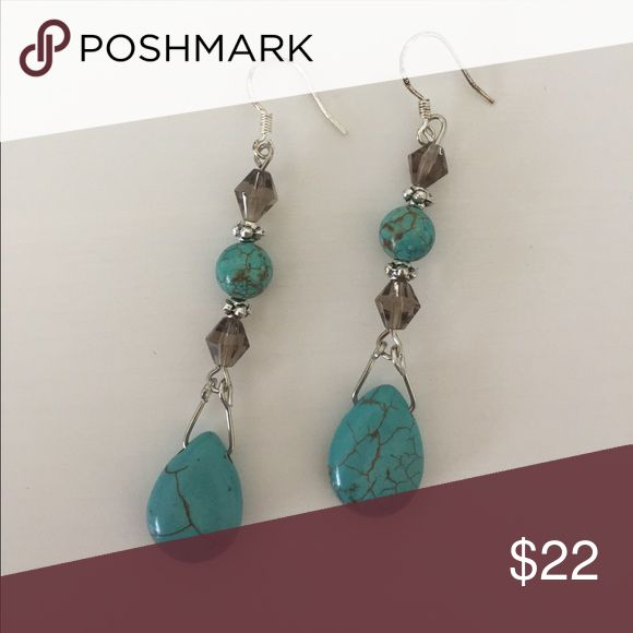 Simone Smoky Gray Crystal + Turquoise Earrings So unique! Turquoise and smoky gray crystals drip from these beautiful earrings. French wire hooks are nickel free and come with brand new rubber backs. Ships in jewelry duster. 💎The more turquoise you buy the more you save!! Buy 2 pieces ➡️ 20% bundle discount!! 3 pieces ➡️ 25% bundle discount!!💎 Jewelry Earrings