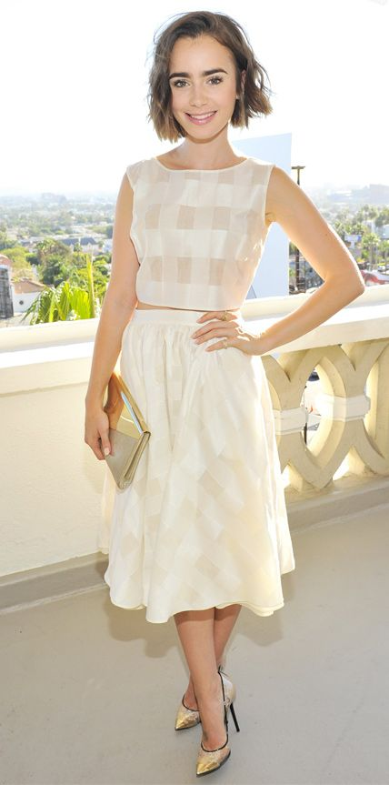 Look of the Day - November 1, 2014 - Lily Collins in Houghton from #InStyle