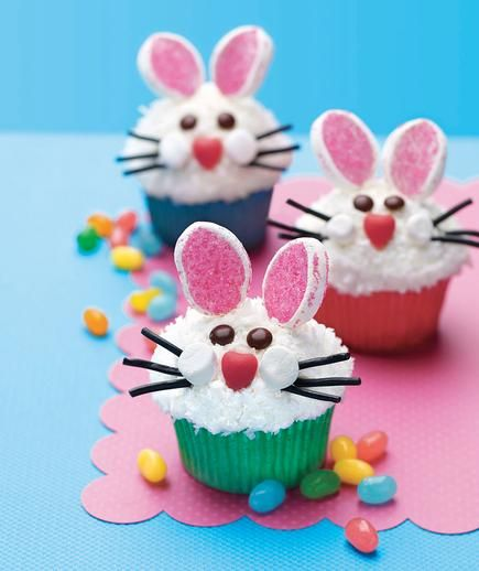 Easter Bunny Face Cupcakes From All You: Marshmallows dipped in pink sanding sugar form this bunny's adorable ears. Licorice lace whiskers and mini marshmallow cheeks complete the look.