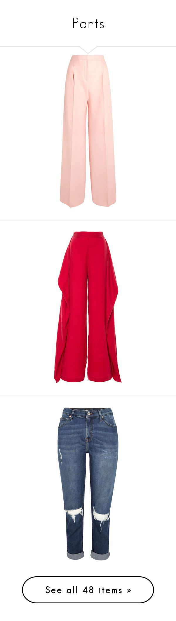 """""""Pants"""" by isthelastofus ❤ liked on Polyvore featuring pants, pastel pants, pink wide leg pants, woolen pants, maxmara pants, wide leg pants, paper london, pink, paper pants and high waisted trousers"""