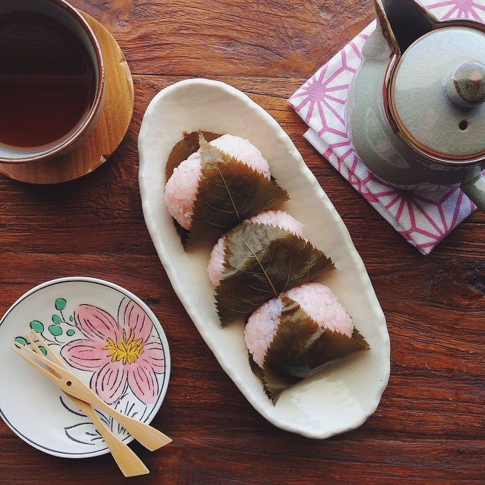 Sakura Mochi | JustOneCookbook.com ~  traditional Japanese dessert we enjoy during spring called Sakura Mochi (桜餅).  It's made of sweet pink mochi (glutinous rice/sweet rice) and it's usually filled with anko (sweet red bean paste) and wrapped in a salty pickled cherry leaf.