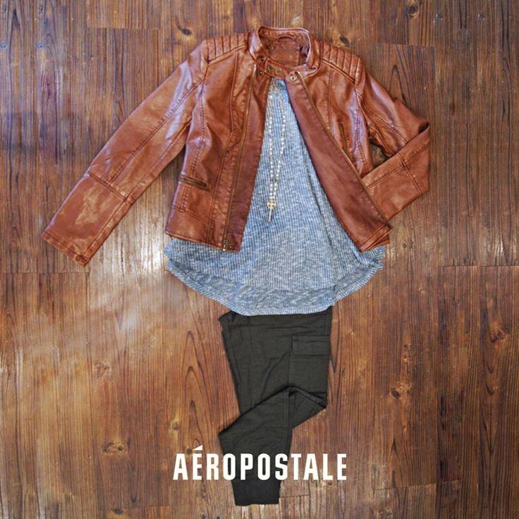 No salgas sin tu chamarra Aéropostale ❄ ☁  #AeropostaleMx #jacket #leather #girl
