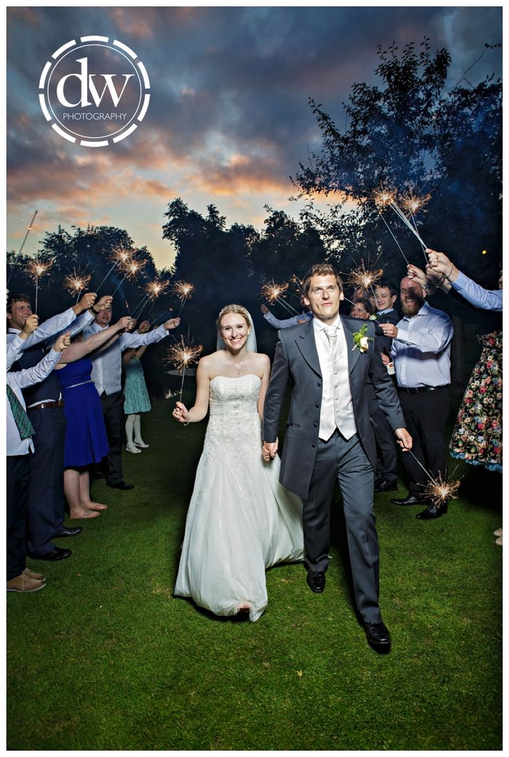 Wedding photography sparkler exit at Chippenham Park, Cambridgeshire