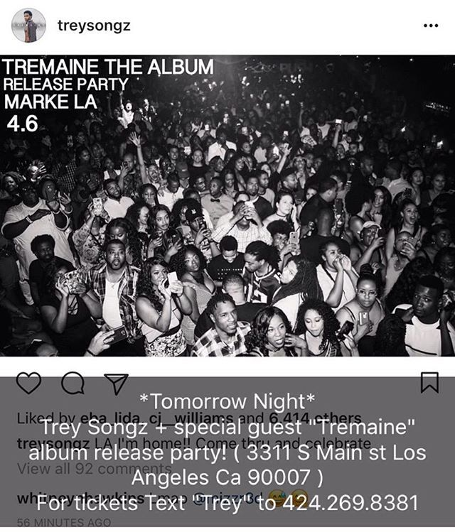 "#KingOfThursdays Trey Songz ""Tremaine"" album release party! + Special Guest ( 3311 S Main st Los Angeles Ca 90007 ) Or 424.269.8391 for more info 18+ Thursdays! 2017 Your NEW 18+ Destination inside @TheMarkeLA  Text ""KOT"" to 424.269.8381 for Guestlist 