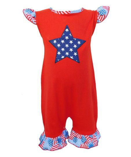 899773a04ced Adorn your little one in the darling ruffles of this stars-and-stripes  romper that allows for quick changes with its snap closures.