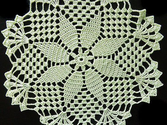 Size: 19.5 cm / 7.7 inch This doily is new. I did my best to take real picture of the colour. It didnt came out absolutely the same. Doily is lovely light green. Like the pistachio ice cream you can see on the last picture.