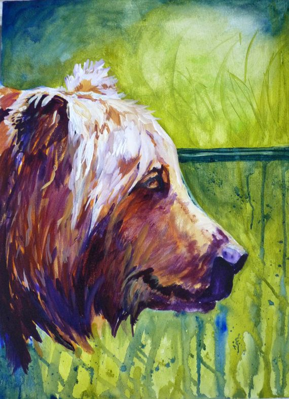 original acrylic bear painting by maure bausch by twopoots