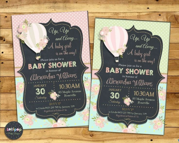 HOT AIR BALLOON BABY SHOWER PERSONALISED INVITATIONS CUSTOM INVITES CARD GIRL  #CUSTOMINVITATION #BABYSHOWER http://www.lollipoppartysupplies.com.au