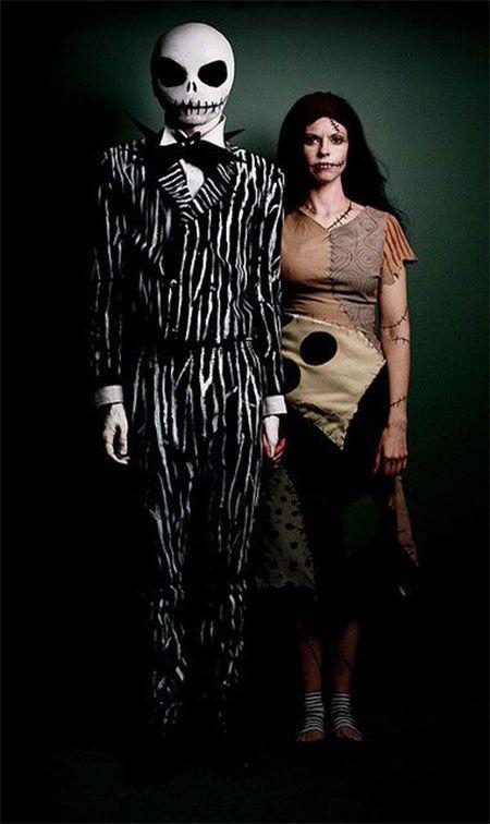 jack and sally homemade fancy dress ideas diy halloween costumes - Scary Halloween Ideas