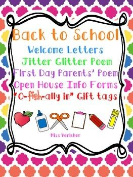 The perfect product for a happy Back to School or End of Year!This pack includesWELCOME LETTERS - a warm and welcoming back to school letter to send to your littles before school starts.  I have included multiple versions of this letter for classrooms with a single teacher, two or more teachers and a version to fill in your schools official start date.