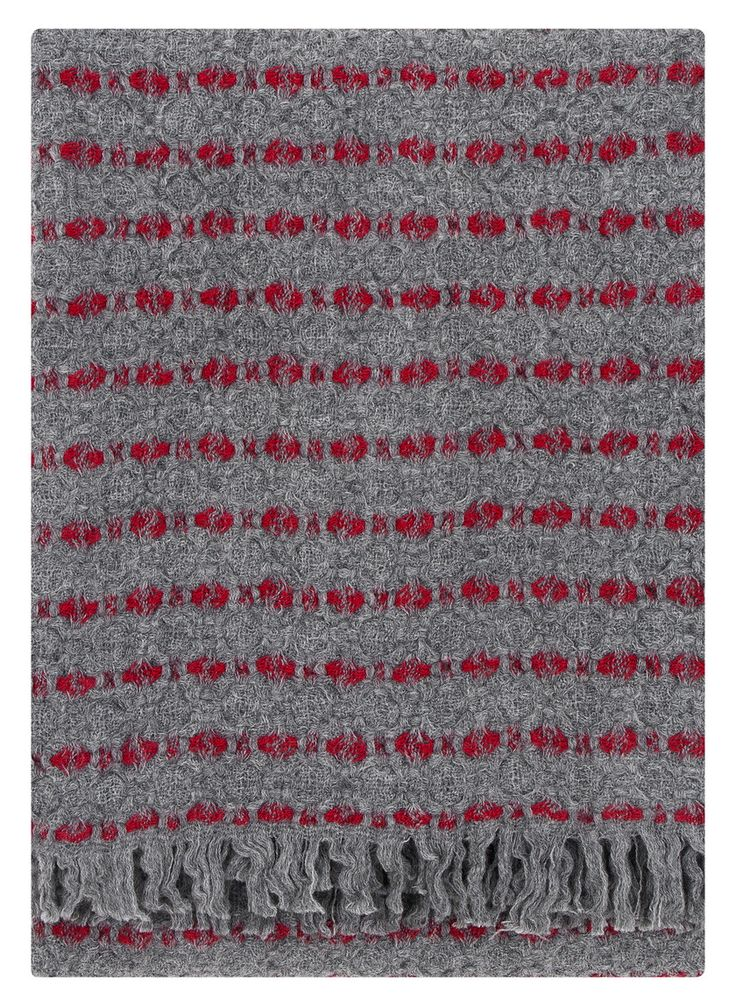 Lapuan Kankurit Grey and Red Patterned Wool Throw - Trouva