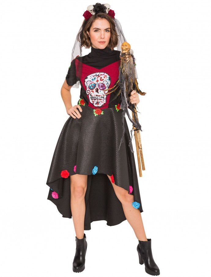 Kleid Dia de los Muertos schwarz rot für Halloween » Deiters   diadelosmuertos  kleid 1d4b412d83