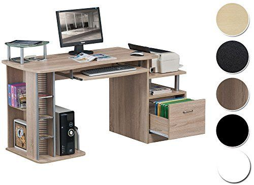 sixbros computer desk pc workstation office desk oak wooden look s - Computertische Fr Zuhause