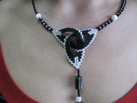 """Flat Celtic Knot necklace inspired by D. Fitzgerald's """"Shaped Beadwork"""""""
