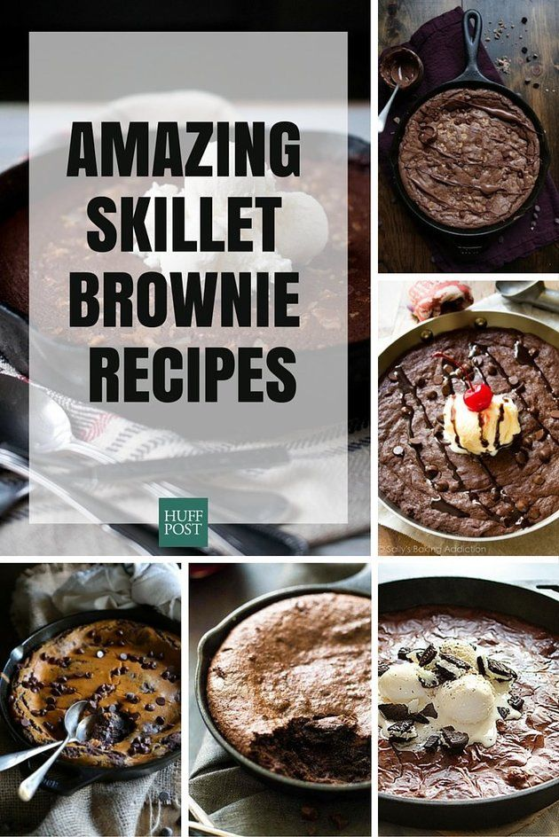 14 skillet brownie recipes that are a must try......Not only can you use skillets for indoor s'mores, but they make the gooiest, smoothies, most chocolate-y brownies this world has ever known. So easy, and oh, so good.