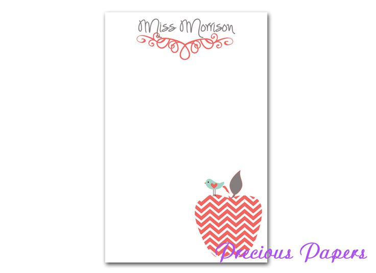 Personalized Teacher note pads Personalized teacher gift Personalized teacher coral chevron apple notepad apple note pad by mypreciouspaper on Etsy https://www.etsy.com/listing/187363797/personalized-teacher-note-pads