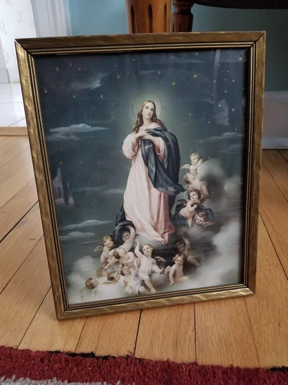 Religious Art, religious print, vintage religious, antique religious, Catholic Art, Virgin Mary, Virgin Art, Mary and Jesus, Mary Art, Immaculate Mary, Our lady, Guadalupe, Mother Mary Wood, glass, nails, lithograph, Made in Italy    Antique Virgin Mary Immaculate Mary Assumption