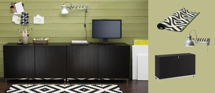 BESTÅ black-brown storage combination with doors