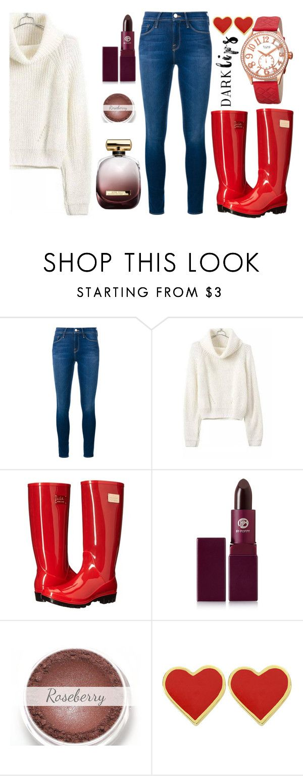 """White Sweater and Burgundy Lips"" by karen112200 ❤ liked on Polyvore featuring Frame Denim, Nina Ricci, Nicole Miller, Lipstick Queen and bürgi"