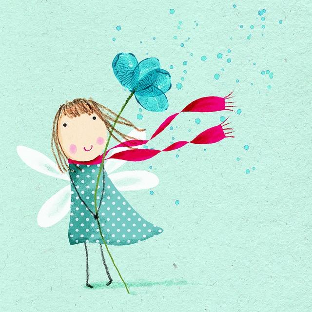 Fairy, blue flower.