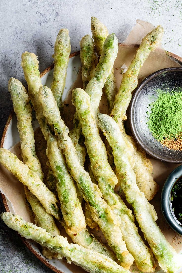 Ultra-crispy gluten-free tempura asparagus spears fried up with a rice flour and egg batter, then sprinkled with earthy matcha salt and spicy togarashi!