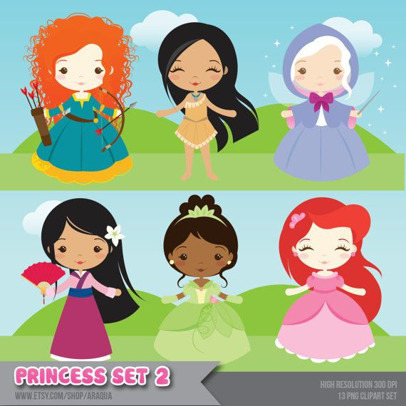 Princess Set 2 Clipart - Instant Download - PNG Files.