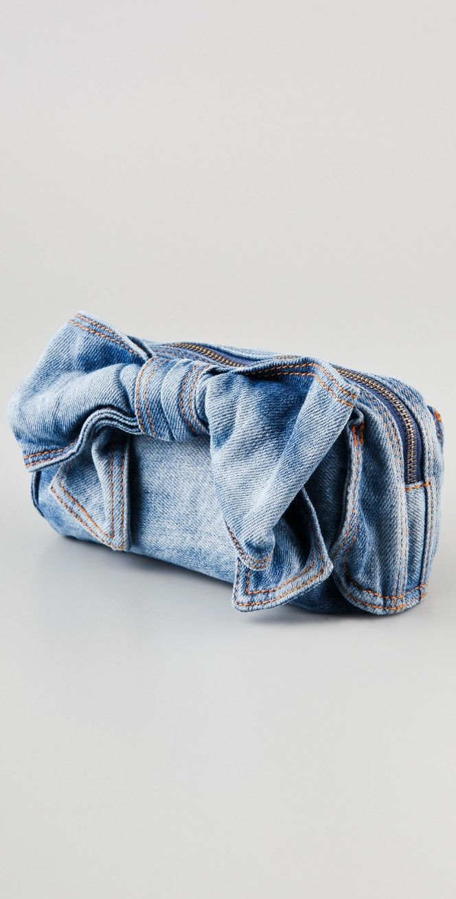 RED Valentino Denim Bow Cosmetic Pouch | SHOPBOP