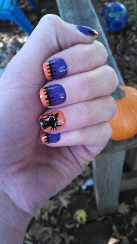 Kitty cat, black purple and orange Halloween nails ...